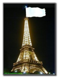 Eiffel Tower flying a white flag